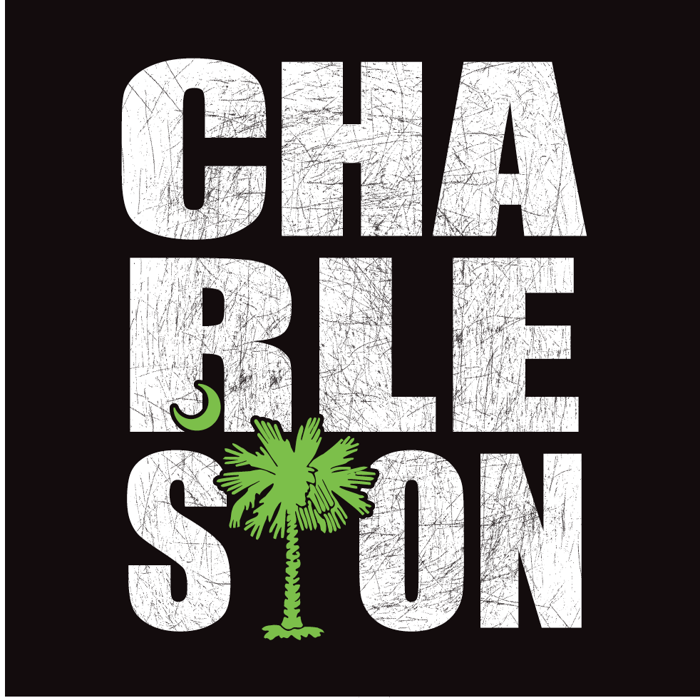 Charleston Stacked Decal Black