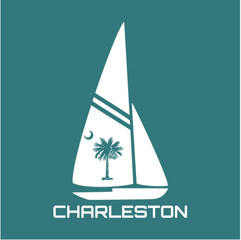 Charleston Sailboat Decal Teal