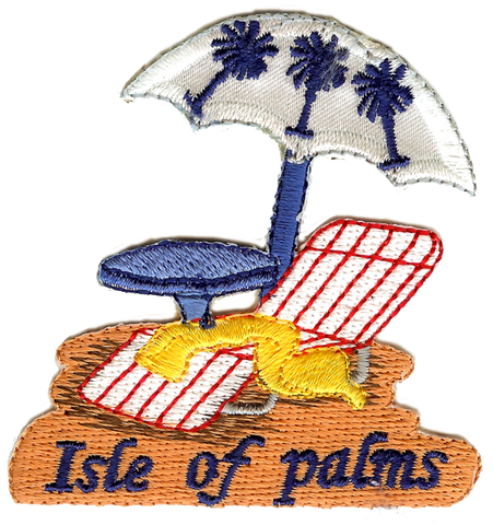 Isle of Palms SC Palmetto Beach Chair Embroidery Patch