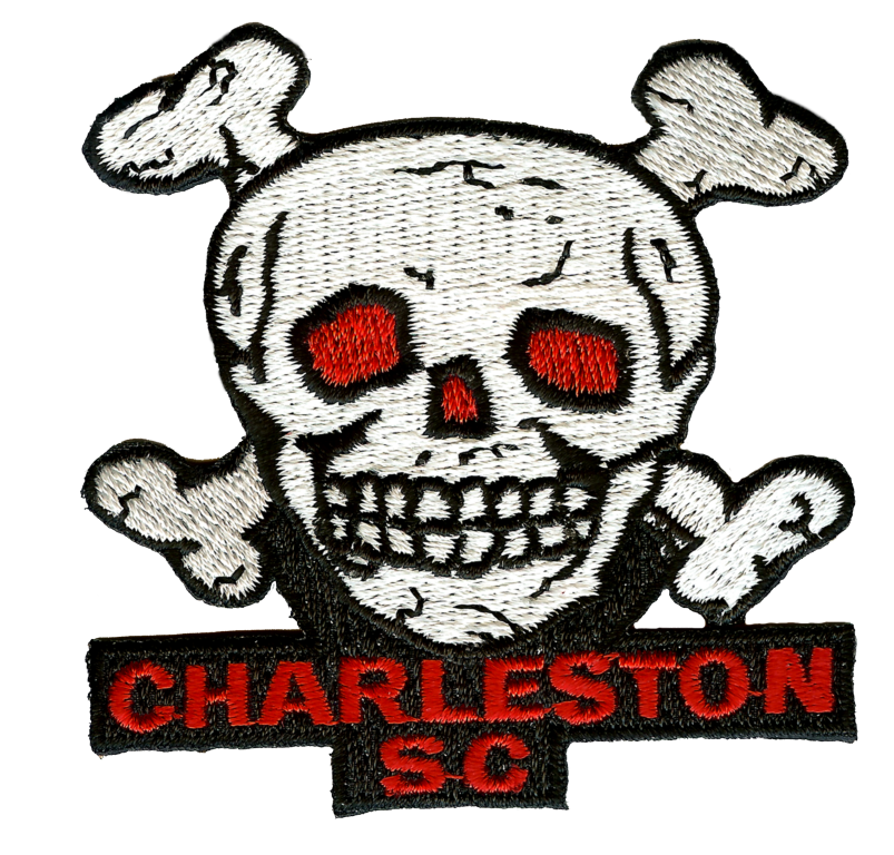 Red-Eyed Skull and Crossbones Charleston SC Embroidery Patch