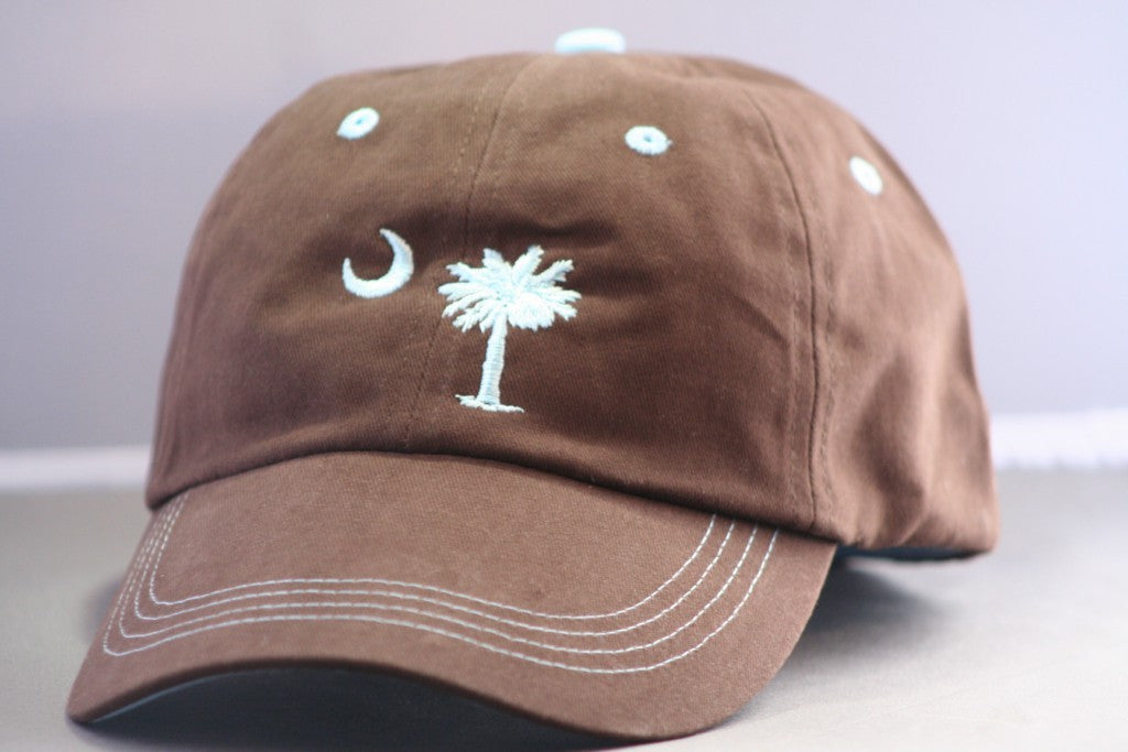 Charleston Palmetto and Moon Brown and Blue Hat