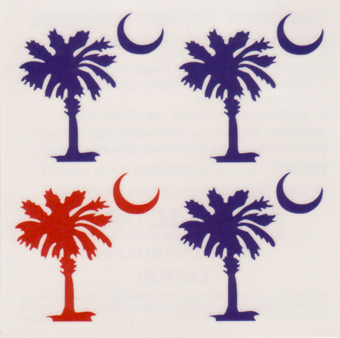 South Carolina - Palmetto and Moon - Temporary Tattoos