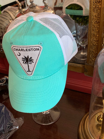 Charleston with SC Palmetto and moon Triangle Silver on Outdoor Mint/white Washed Trucker Cap