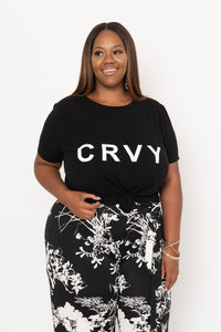 Black Curved Hem CRVY Tee - KIN by Kristine
