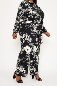 Black Printed Wide Leg Pants - KIN by Kristine