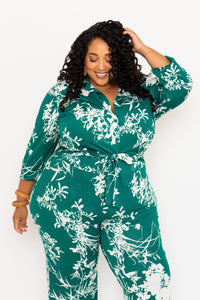 Emerald Printed Button-up Top - KIN by Kristine