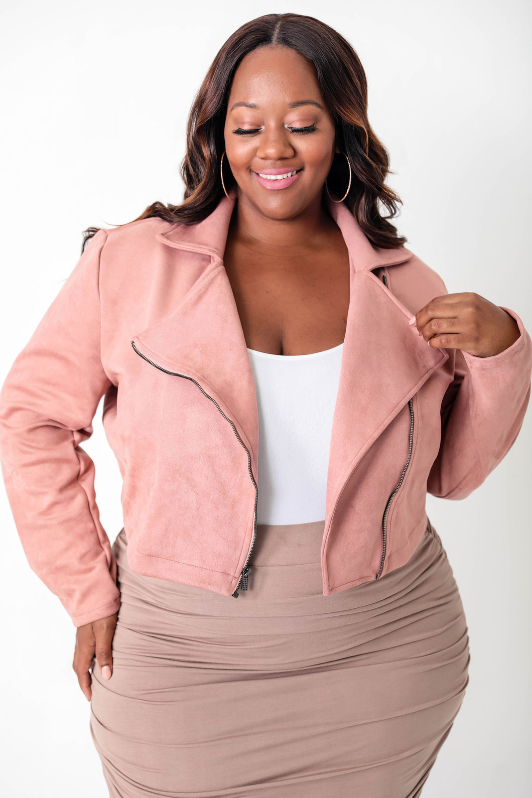 Blush Suede Cropped Moto Jacket - KIN by Kristine