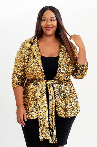 Gold Sequin Blazer - KIN by Kristine (4422355615853)