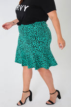 Load image into Gallery viewer, Cheetah Jacquard Trumpet Skirt - KIN by Kristine (3999770706029)