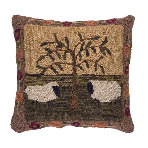 Willow and Sheep Hooked Pillow - Farmhouse-Primitives