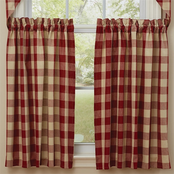 Wicklow Garnet Red and Tan Curtains - Farmhouse-Primitives