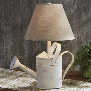 White Watering Can Lamp - Farmhouse-Primitives