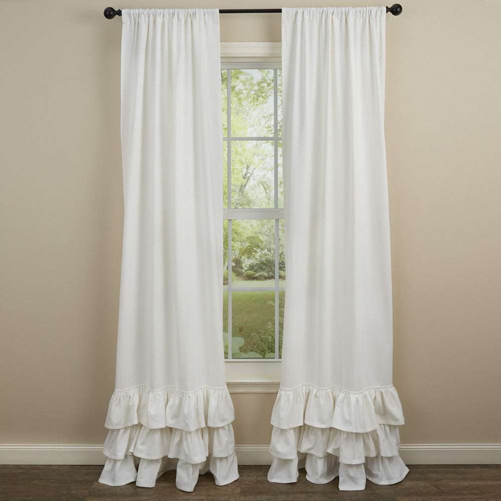 White Ruffled Curtains - Farmhouse-Primitives