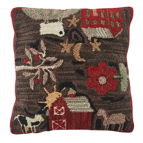 Farm Life Hooked Pillow - Farmhouse-Primitives