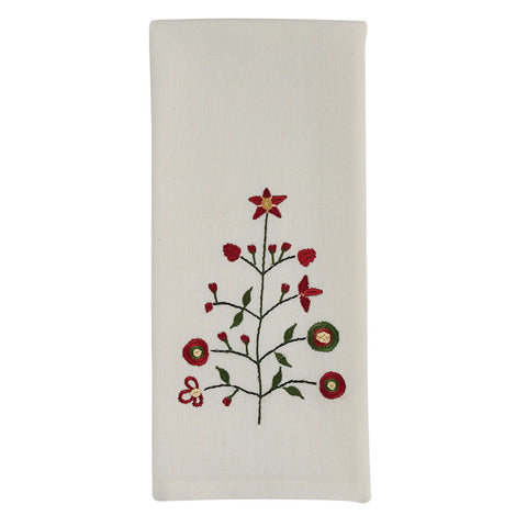 Embroidered Tree Towel - Farmhouse-Primitives