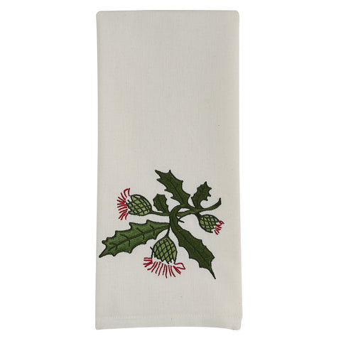 Embroidered Thistle Towel - Farmhouse-Primitives