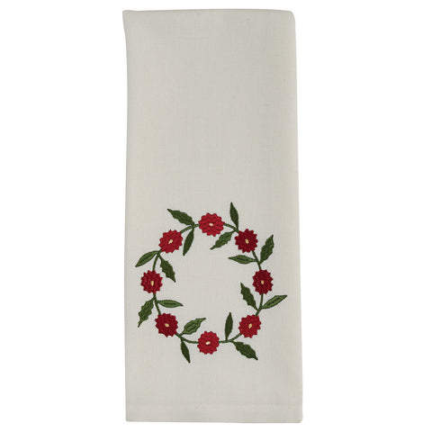 Embroidered Wreath Towel - Farmhouse-Primitives