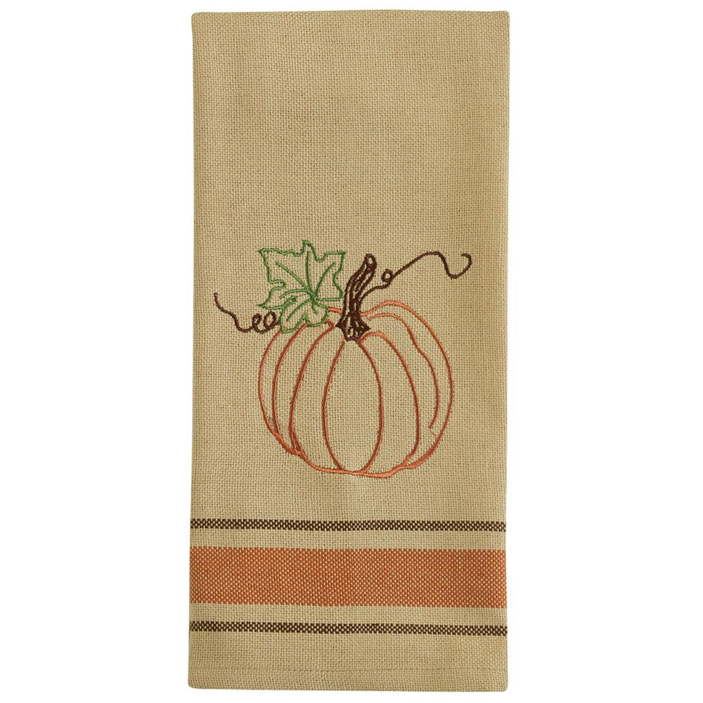 Rustic Pumpkin Stripe Dish Towel - Farmhouse-Primitives
