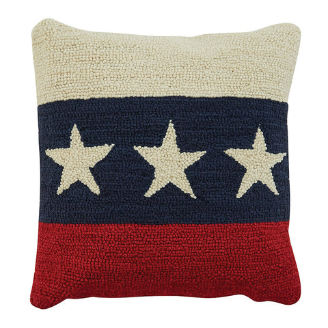 Americana Star Hooked Pillow - Farmhouse-Primitives