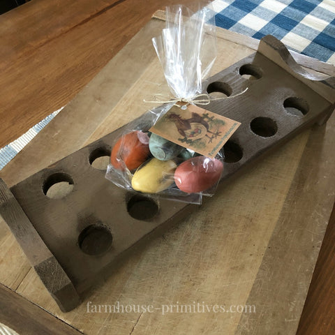 Egg Tray with Primitive Spring Wood Eggs - Farmhouse-Primitives
