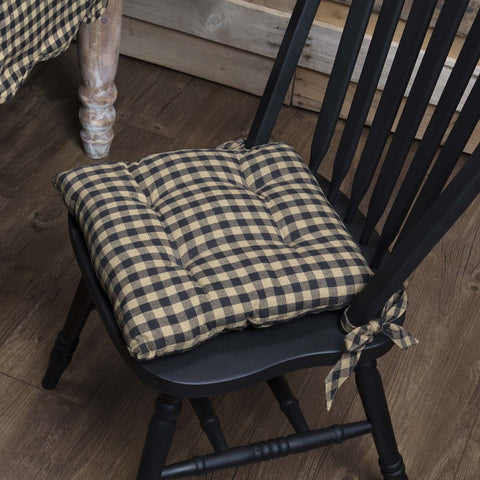 Black Check Chair Pad - Farmhouse-Primitives