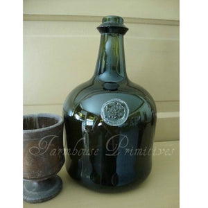 Early Wine Bottle with Glass Seal - Farmhouse-Primitives