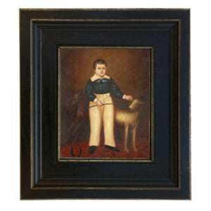 Boy with Dog Framed Print - Farmhouse-Primitives