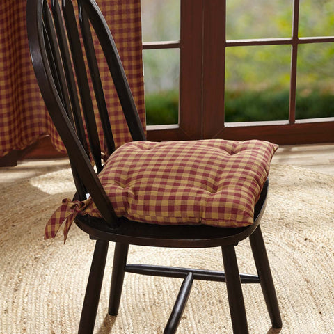 Burgundy Check Chair Pad - Farmhouse-Primitives