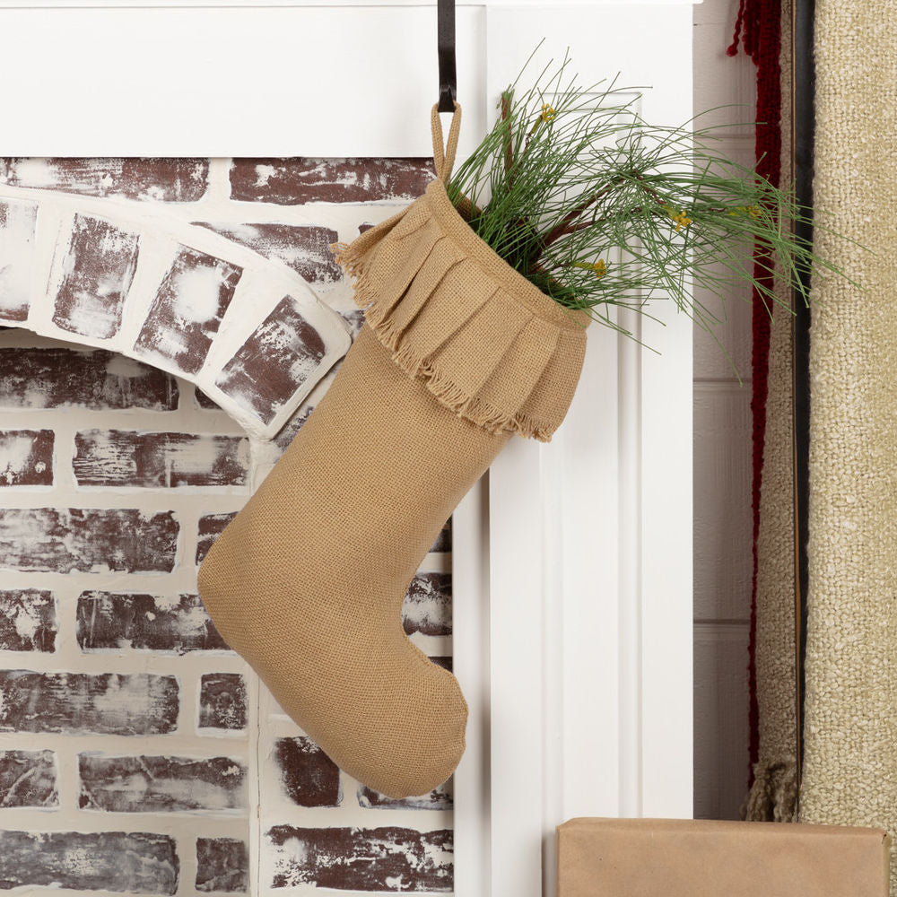 Festive Burlap Stocking COLOR CHOICE - Farmhouse-Primitives
