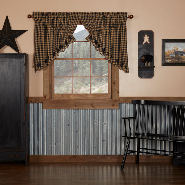 Black Star Curtains - Farmhouse-Primitives