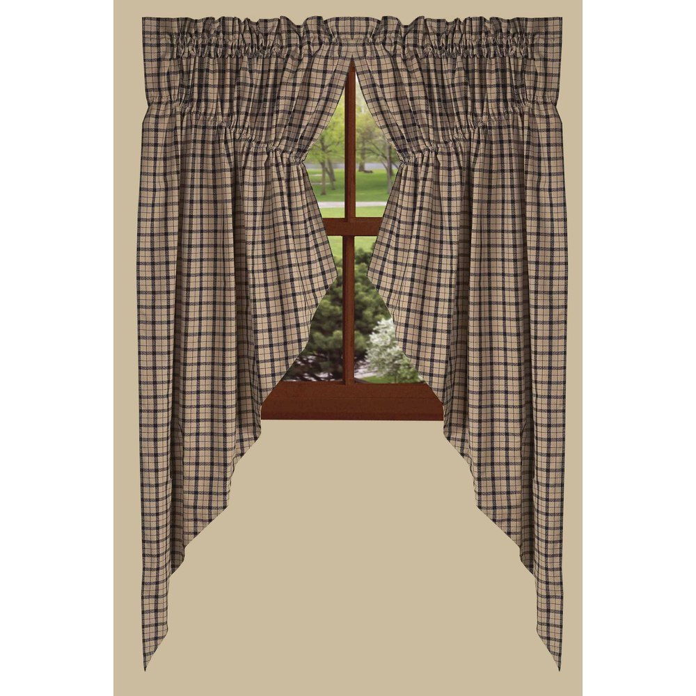 Salem Black Check Curtains - Farmhouse-Primitives