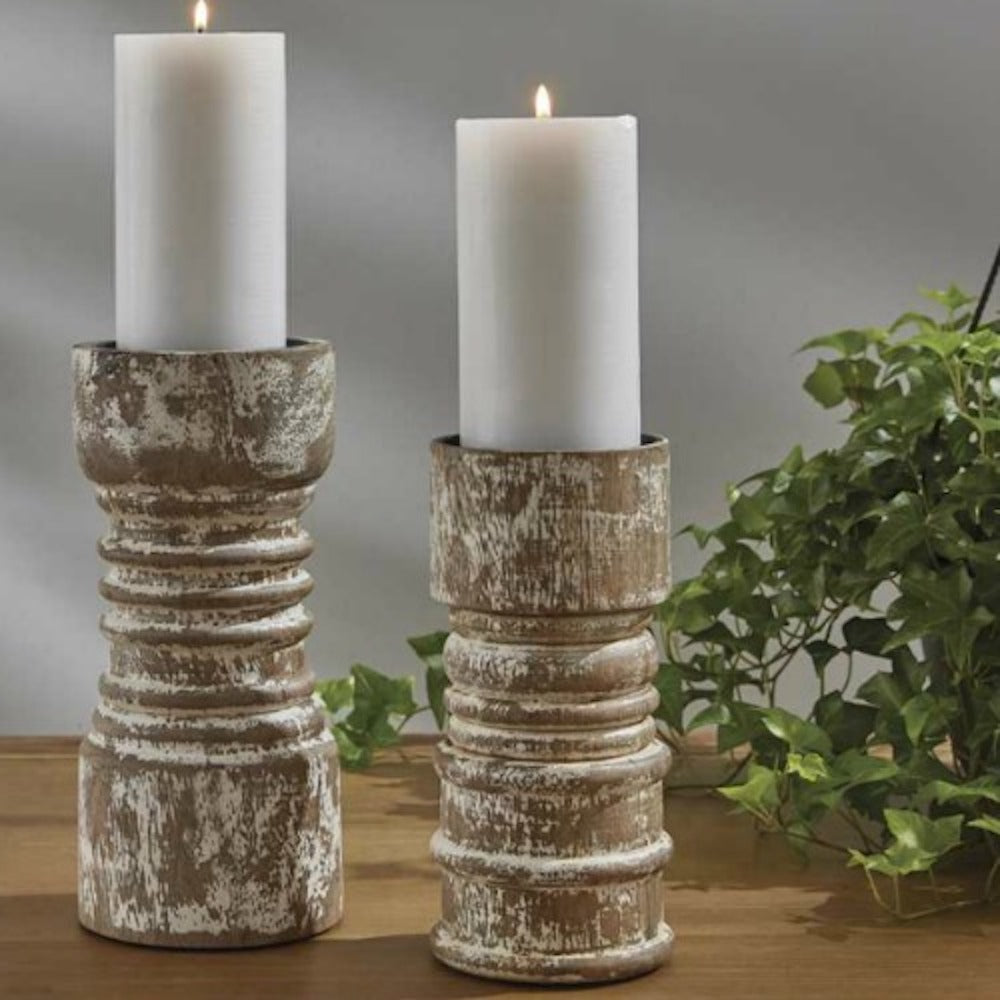 Primitive Cream Pillar Holders - Farmhouse-Primitives