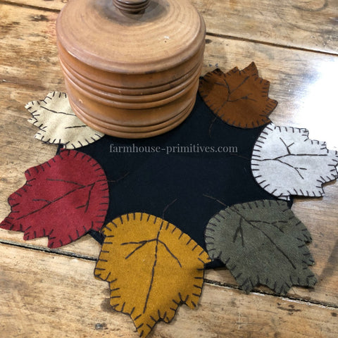 Fall Leaves Table Mat - Farmhouse-Primitives