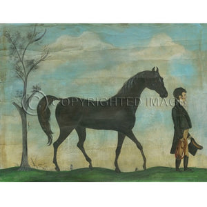 Man With His Steed Floorcloth - Farmhouse-Primitives