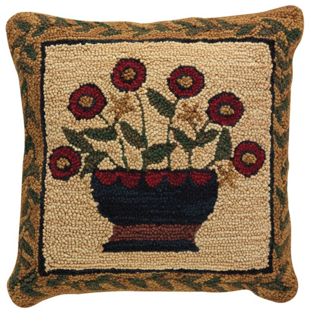 Flower Basket Hooked Pillow - Farmhouse-Primitives