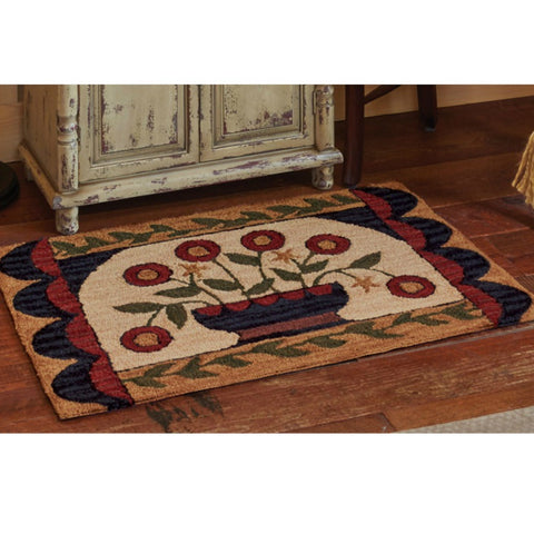 Flower Basket Hooked Rug - Farmhouse-Primitives