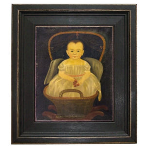 Baby in Cradle Framed - Farmhouse-Primitives