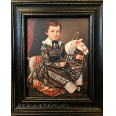 Boy in Plaid Framed - Farmhouse-Primitives