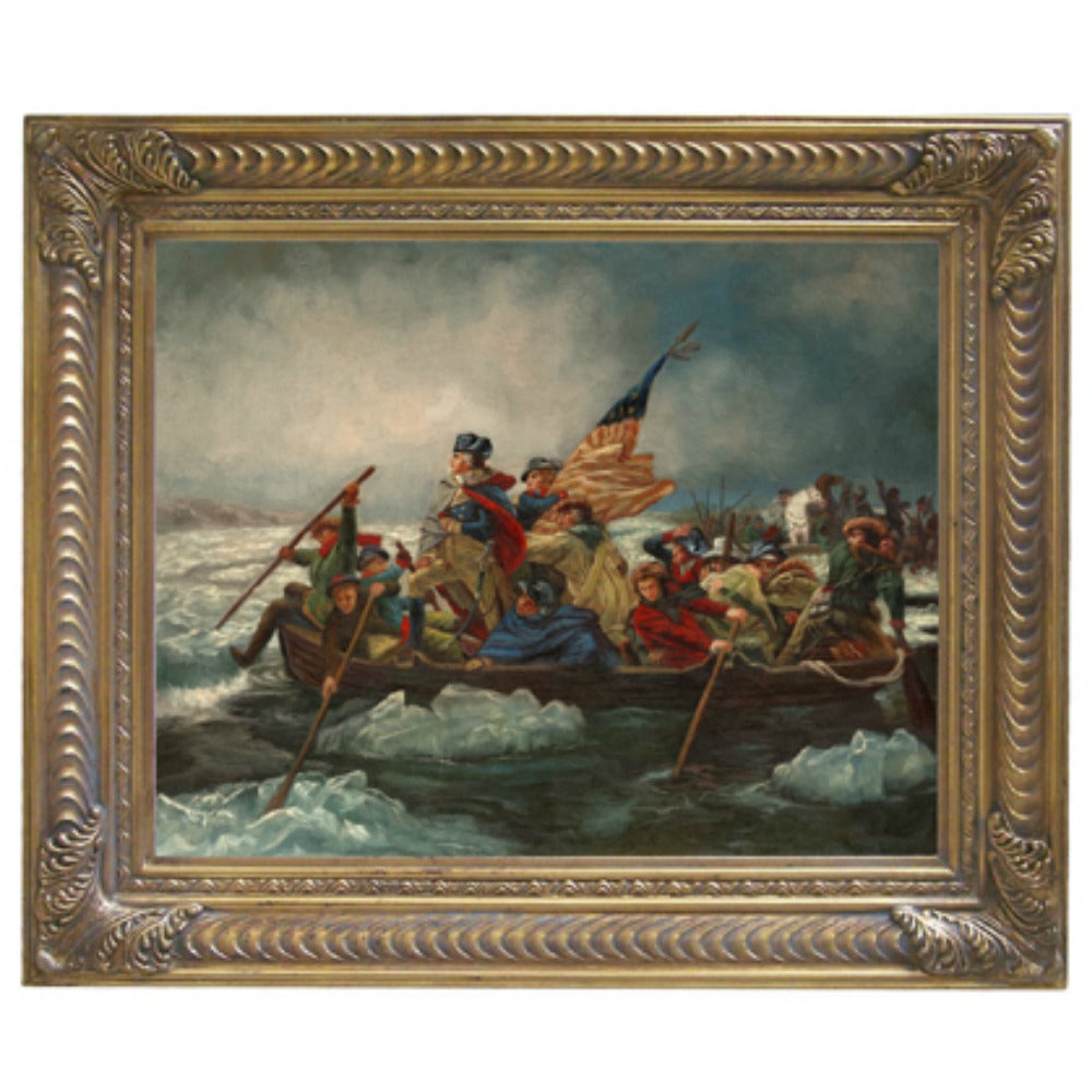 Washington Crossing Delaware in Goldtone Frame - Farmhouse-Primitives