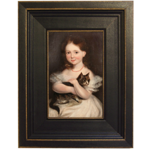 Colonial Girl with Cat Framed - Farmhouse-Primitives