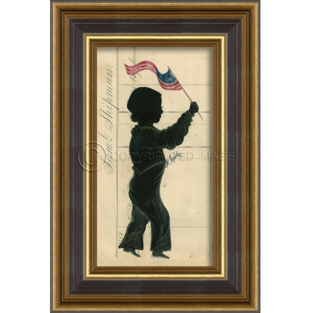 Tintype Silhouette Boy with Flag