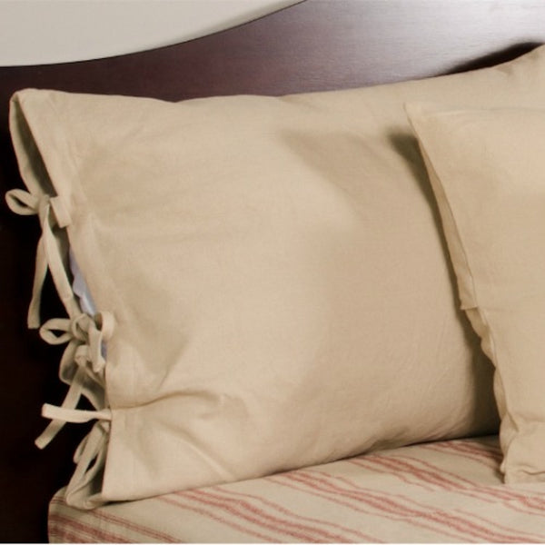 Oat Pillow Sham with Ties - Farmhouse-Primitives