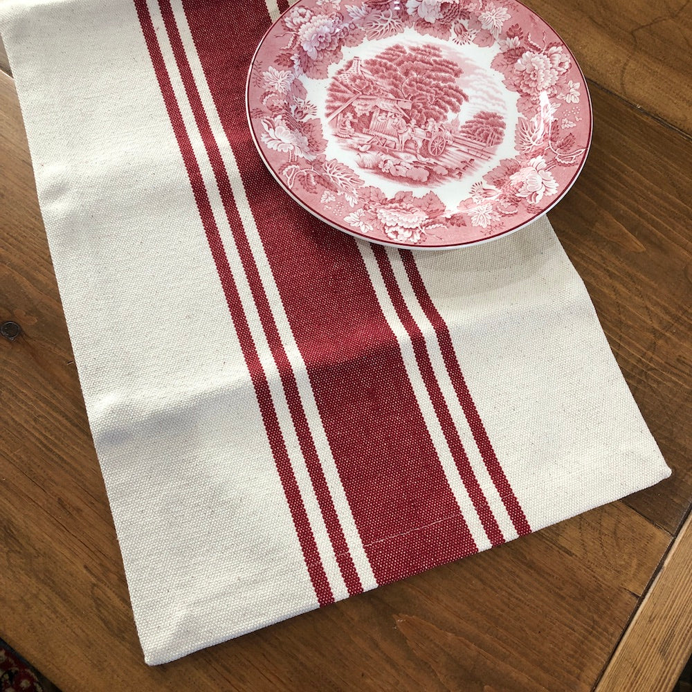 Red Stripe Table Runner - Farmhouse-Primitives