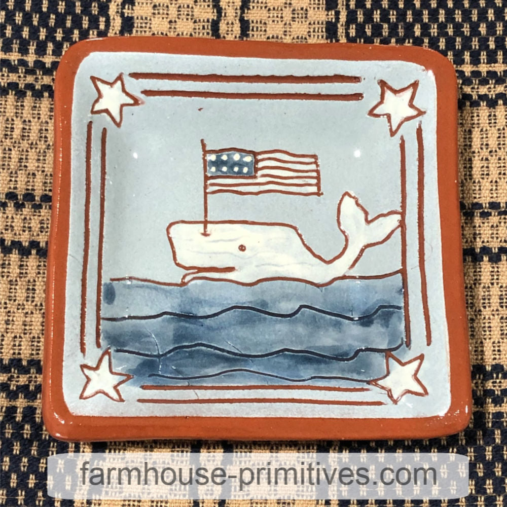 Whale with Flag Redware Plate - Farmhouse-Primitives