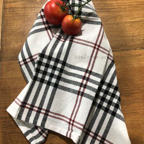 Chesterfield Check Black/Red/Cream Dish Towel - Farmhouse-Primitives