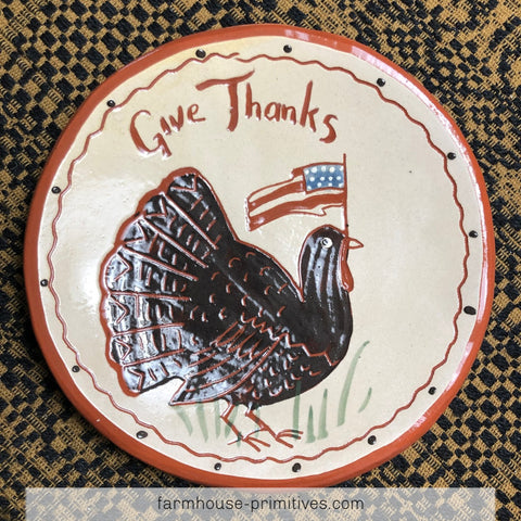 Give Thanks Turkey with Flag Redware Plate - Farmhouse-Primitives