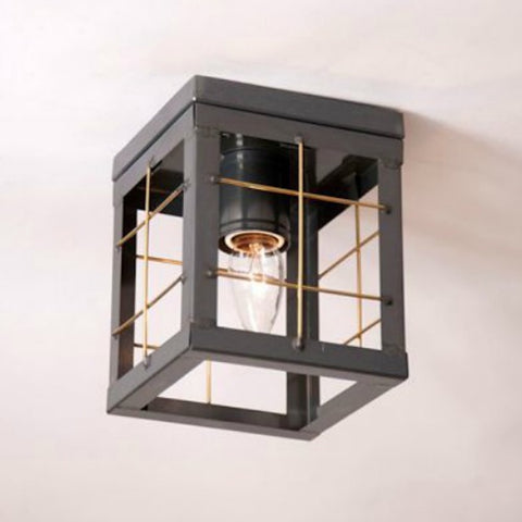 Single Ceiling Light with Brass Bars - Farmhouse-Primitives