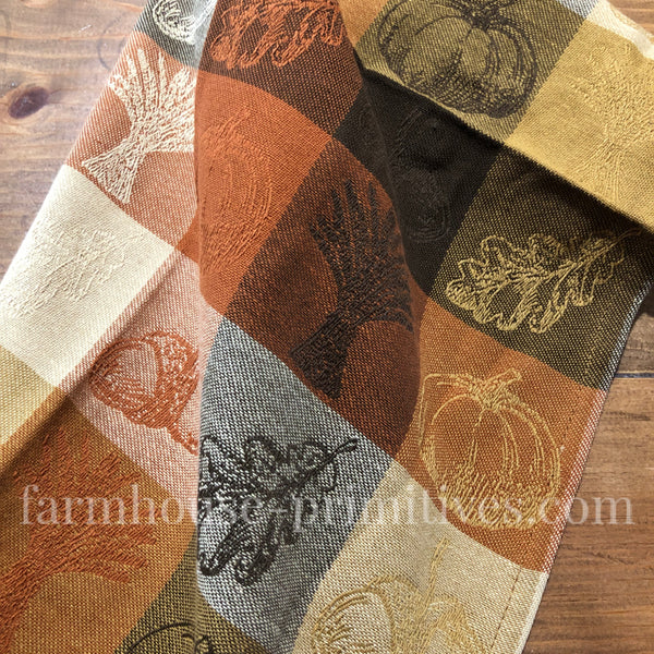 Jacquard Pumpkin Patch Towel - Farmhouse-Primitives