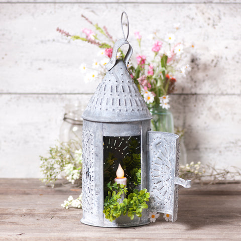 15 inch Weathered Revere Candle Lantern - Farmhouse-Primitives