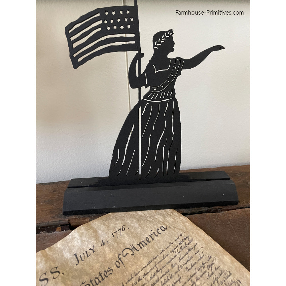 Lady Liberty Wood Silhouette - Farmhouse-Primitives